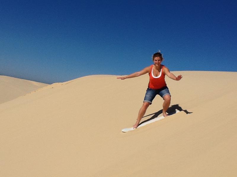 Lady Sand Surfing Sand Dune Safaris Stockton Beach